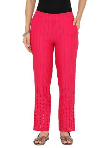 De Moza | De Moza Women's Straight Pant Woven Bottom Solid Cotton Fuchsia