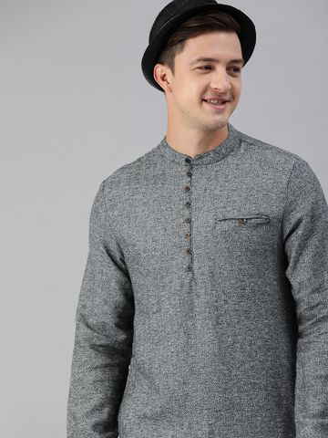 The Bear House | Men Grey Solid Special Weaved Grindle Kurta