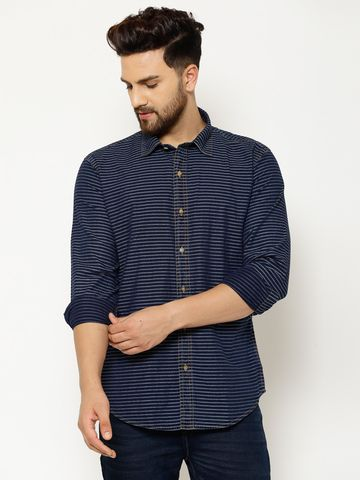 Eppe | EPPE Men's Denim Full Sleeves Smart Fit Stylish Stripes Casual Shirt