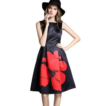 POONAM TEXTILE | Floral Print Black Solid Western Dress