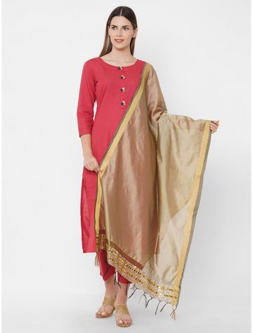 Get Wrapped   Get Wrapped polyester Gold Border Beige Dupatta with Embroidery