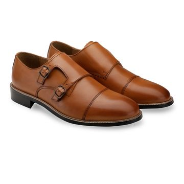 Hats Off Accessories | Hats Off Accessories Genuine Leather Tan Double Monk Strap Shoes