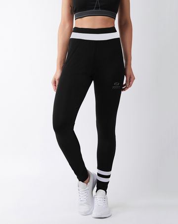 Masch Sports | Masch Sports Women's Black Solid Sports Tights with White Waistband and Ankle Stripe