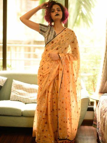 SATIMA   Satima Woman'S Pink Linen  Printed  Saree