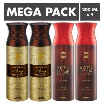 Ajmal | Ajmal Wisal Dhahab & Sacred Love Deodorant Spray- For Men & Women (200 ml, Pack of 4)