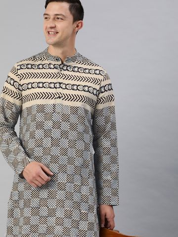 The Bear House | Men Blue Geometric Organic Block Print Kurta