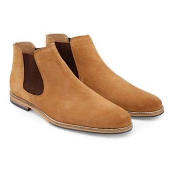 Hats Off Accessories | Hats Off Accessories Beige Suede Leather Chelsea Boots