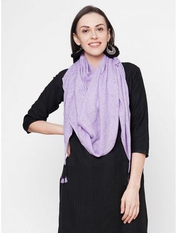 Get Wrapped | Get Wrapped Purple Viscose Rayon Self Design Scarf with Tasselled Border