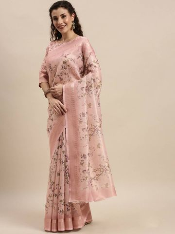 SATIMA | Women's Pink Digital Floral Print Woven Saree