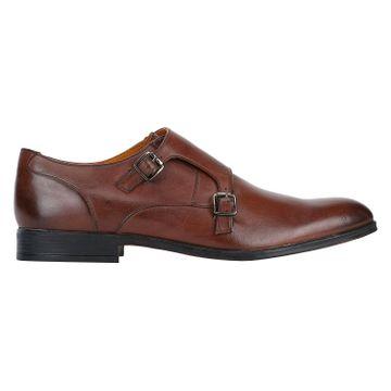 DEL MONDO | Del Mondo Genuine Leather Double Monk Buckle Shoe for Mens