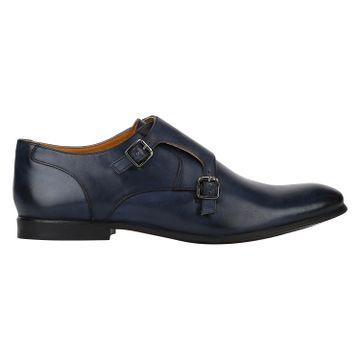 DEL MONDO | Del Mondo Genuine Leather Denim Colour Double Buckle Monk Shoe for Mens