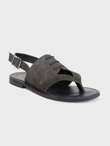DEL MONDO   Del Mondo Genuine Leather Grey Colour Buckle Strap Mens Sandals