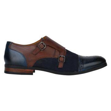 DEL MONDO   Del Mondo Genuine Leather NAVY / Blue / NATURAL Colour Double Buckle Monk Shoe for Mens