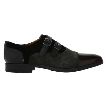 DEL MONDO   Del Mondo Genuine Leather BORDO / SHARK / BLACK Colour Double Monk Buckle Shoe for Mens
