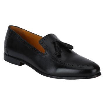DEL MONDO   Del Mondo Genuine Leather Black Colour Tazzle Slipon Loafer Shoe for Mens