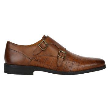 DEL MONDO | Del Mondo Genuine Leather Cognac Printed Colour Double Buckle Monk Shoe for Mens