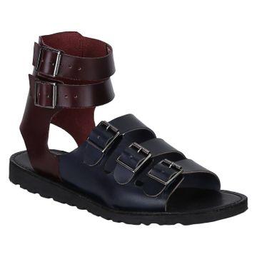 DEL MONDO   Del Mondo Genuine Leather Burgundy / Navy Colour Five Buckle Mens Sandals