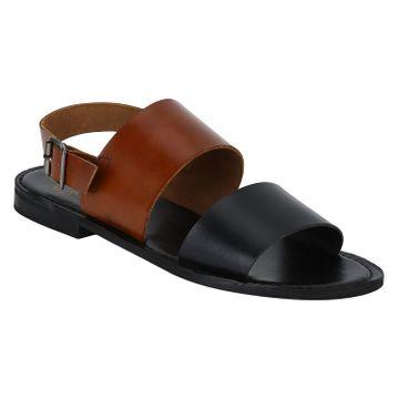 DEL MONDO   Del Mondo Genuine Leather Black / Tan Colour Buckle Strap Mens Sandals