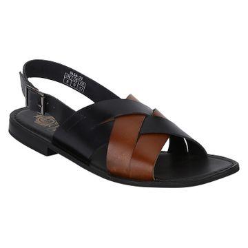 DEL MONDO | Del Mondo Genuine Leather Black / Tan Colour Buckle Strap Mens Sandals