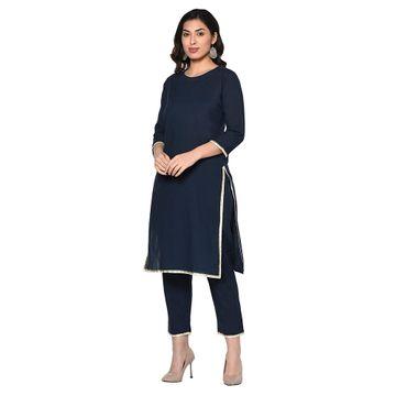 Fabnest | Fabnest womens indigo navy cotton kurta