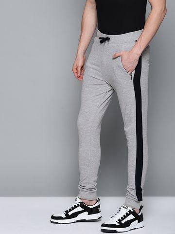 Dillinger | DILLINGER Men Grey Melange Solid Knitted Regular Fit Joggers