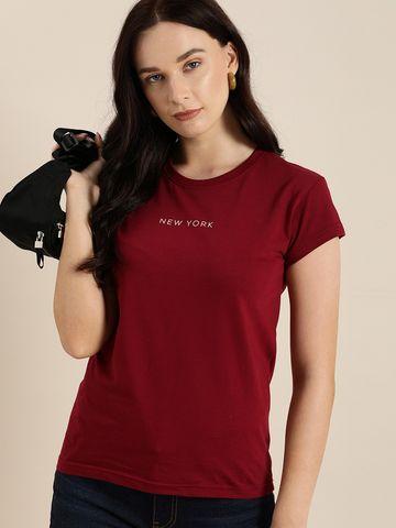 Dillinger | Dillinger Women's Typographic Maroon T-Shirt