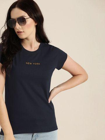 Dillinger | Dillinger Women's Typographic Navy T-Shirt