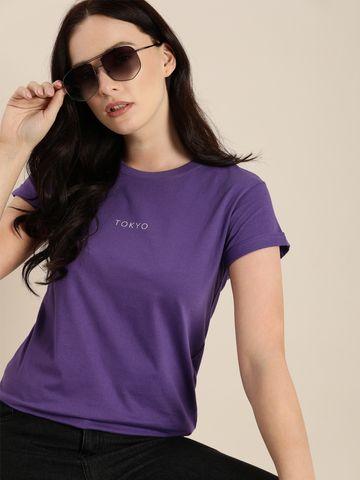 Dillinger | Dillinger Women's Typographic Purple T-Shirt