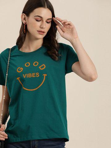 Dillinger | Dillinger Women's Typographic Green T-Shirt