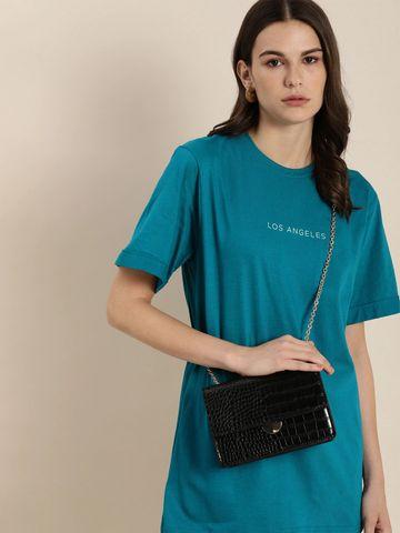 Dillinger | Dillinger Women's Typographic Blue T-Shirt