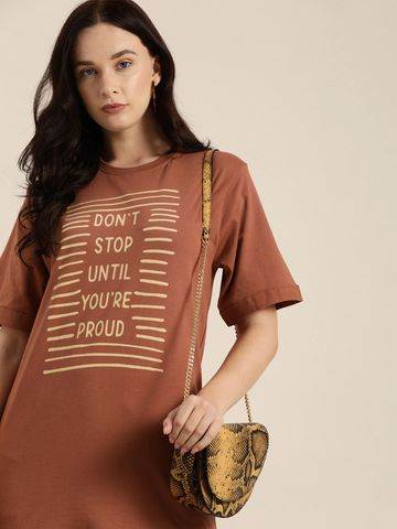 Dillinger | Dillinger Women's Typographic Brown T-Shirt