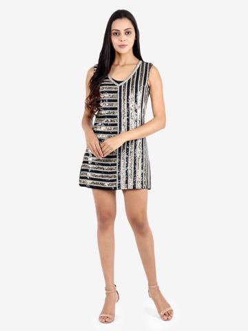 DIWAAH   Diwaah Silver Party Embellished Dress