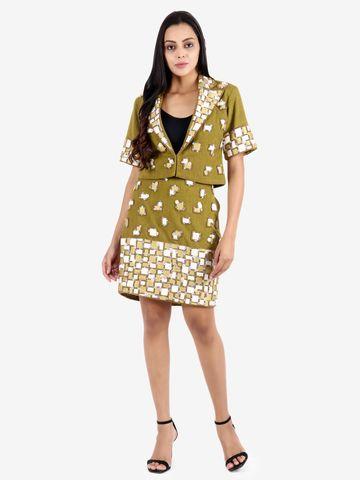 DIWAAH | Diwaah Green Party Embellished Dress