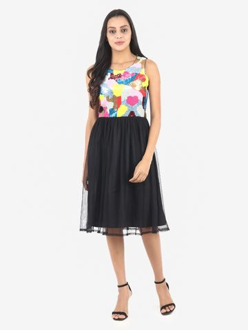 DIWAAH   Diwaah Black Color Embellished Fit and Flare Dress