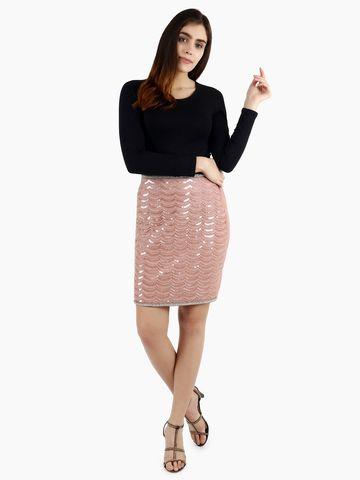 DIWAAH | Diwaah Peach Cotton Embellished Skirt