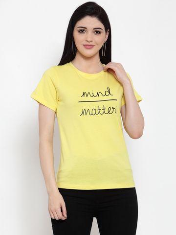 DOOR74   Door74 Womens Yellow Slogan Printed Short Sleeves T-Shirt