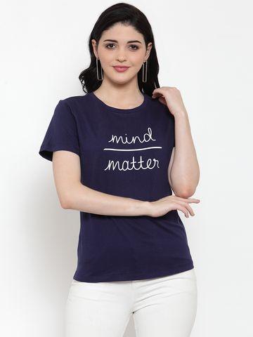 DOOR74   Door74 Womens Navy Slogan Printed Short Sleeves T-Shirt