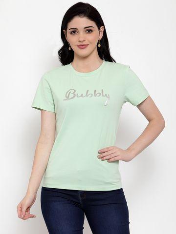 DOOR74   Door74 Green Bubbly Printed Short Sleeves T-Shirt