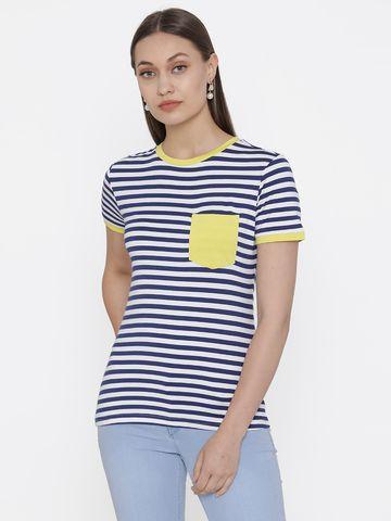 DOOR74   Door74 Navy Striped Short Sleeves T-Shirt