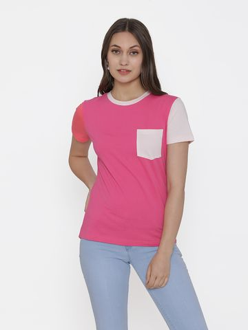 DOOR74 | Door74 Pink Solid Short Sleeves T-Shirt