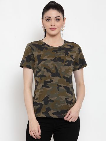 DOOR74 | Door74 Womens Camouflage All Over Printed Short Sleeves T-Shirt