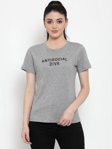 DOOR74   Door74 Womens Grey Slogan Printed Short Sleeves T-Shirt