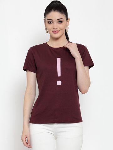 DOOR74   Door74 Womens Maroon Slogan Printed Short Sleeves T-Shirt