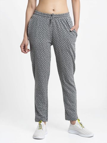 DOOR74 | DOOR74 GREY POLKA PRINT RELAXED FIT JOGGERS