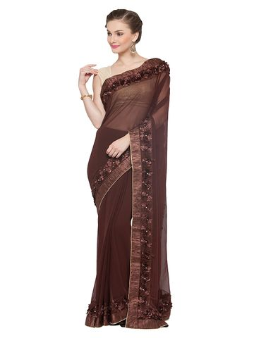 SATIMA | Satima BrownGeorgetteRabbin Work Saree