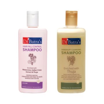 Dr Batra's | Dr Batra's Dandruff Cleansing Shampoo - 200 ml and HairFall Control Shampoo- 200ml (Pack of 2 for Men and Women)