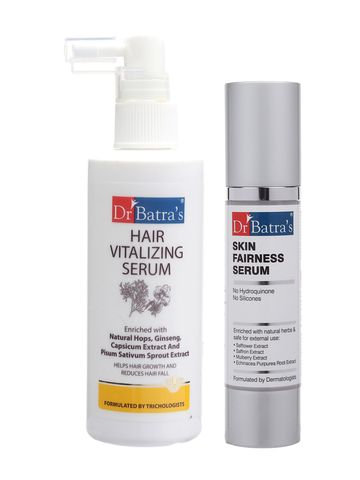 Dr Batra's | Dr Batra's Hair Vitalizing Serum 125ml and Skin Fairness Serum - 50 g (Pack of 2 for Men and Women)