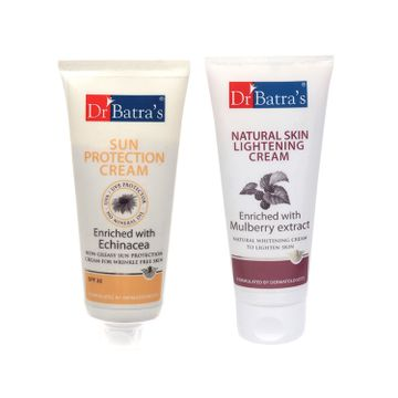 Dr Batra's | Dr Batra's Sun Protection Cream - 100 gm and Natural Skin Lightening Cream - 100 gm ( Pack of 2 Men and Women)