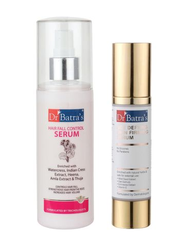 Dr Batra's | Dr Batra's Hair Fall Control Serum-125ml and Age defying Skin firming Serum - 50 g (Pack of 2 for Men and Women)