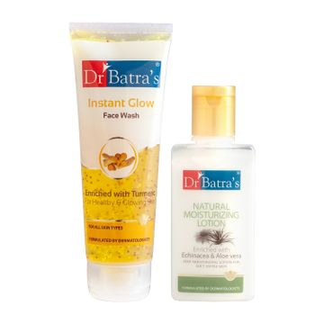 Dr Batra's | Dr Batra's Instant Glow Face Wash 200 gm and Natural Moisturising Lotion - 100 ml (Pack of 2 Men and Women)